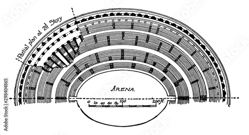 Colosseum, Half Plan, vintage engraving. Fototapet
