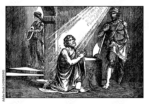 John the Baptist Prays in Prison Just Before His Beheading vintage illustration Fototapet