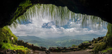 View Of Valley From The Cave Entrance On Lohagad Fort,Pune,Maharashtra,India