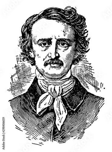 Photo Edgar Allan Poe, vintage illustration