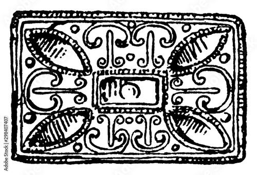 Buckle, rectangular Anglo-Saxon, vintage engraving. Canvas Print