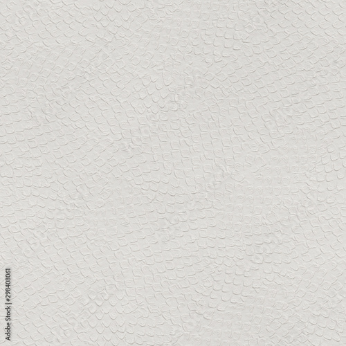 Fototapeta  White paper seamless texture, embossed dragon scales pattern on paper background