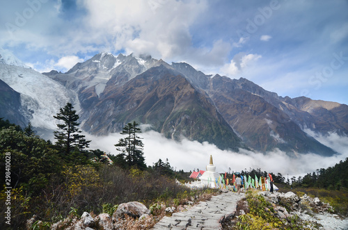 Stupa with Glacier and Mist at Hailuogou National Glacier Forest Park ,Sichuan, China Canvas-taulu