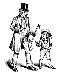 Man & boy vintage illustration.