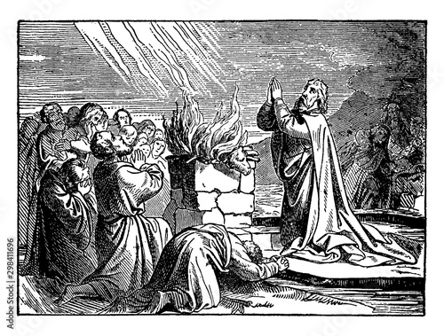 Photo Elijah Praying to God to Set Fire to His Altar in Front of the Prophets of Baal vintage illustration