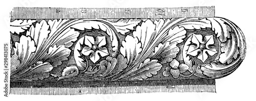 Roman Astragal, the massive character of Roman architecture, vintage engraving Wallpaper Mural