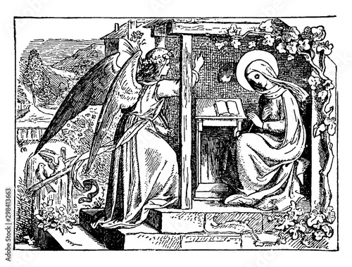 The Annunciation: The Angel Gabriel Appears to the Virgin Mary vintage illustration Fototapeta