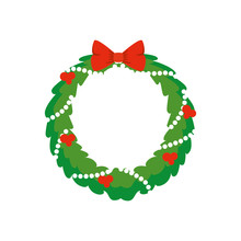 Wreath Christmas With Decoration Isolated Icon Vector Illustration Design