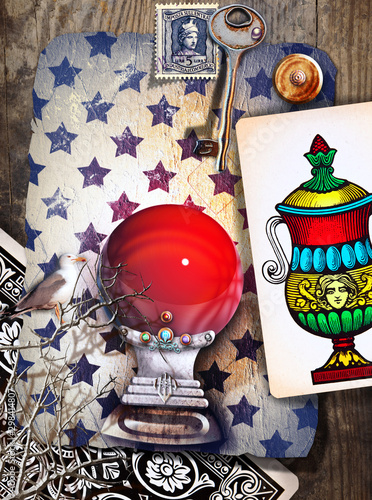 Magic red crystal ball with ace of tarot cups