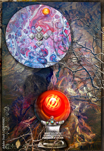 Background with magic cristal ball in to abstract landscape.