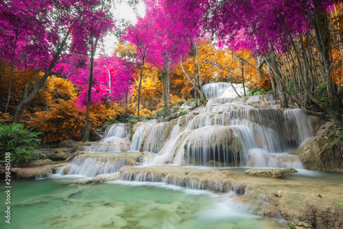 Poster Olive Amazing in nature, beautiful waterfall at colorful autumn forest in fall season
