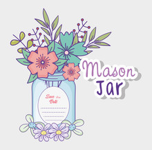 Mason Jar Flowers Decoration S...