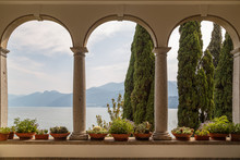 VARENNA / ITALY - JULY 2015: View To The Garden From The Entrance Of Villa Monastero, In Varenna Town, Italy
