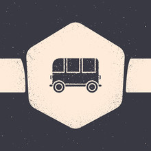 Grunge School Bus Icon Isolated On Grey Background. Monochrome Vintage Drawing. Vector Illustration