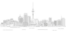 Auckland Cityscape Line Art Style Detailed Vector Illustration