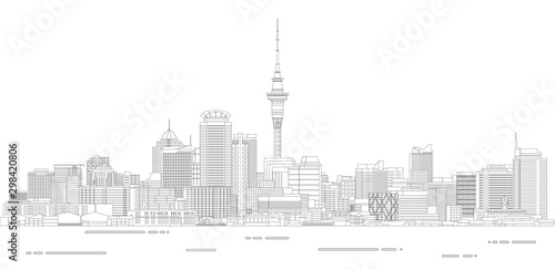 Auckland cityscape line art style detailed vector illustration Canvas Print