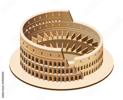 Obraz na plátně Vector 3d isometric illustration of Colosseum (Coliseum) in Rome, Italy