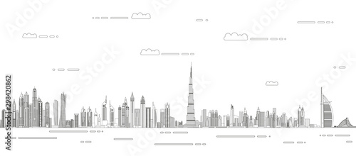 Photo Dubai сityscape line art style vector detailed illustration