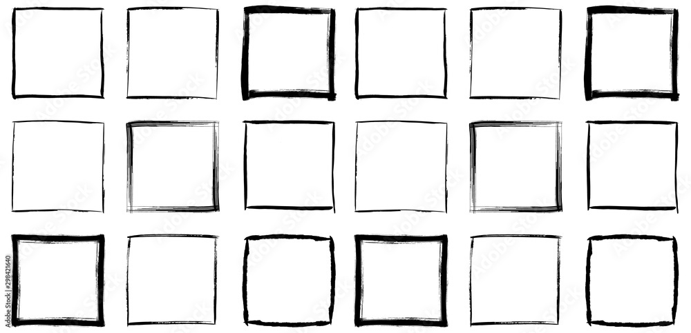 Fototapety, obrazy: Collection of square black hand drawn grunge frames, borders set. Set of design elements. Vector illustration in black isolated over white.