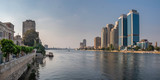 Panoramic view of river Nile in downtown of Cairo with Zamalek and modern buildings, Egypt