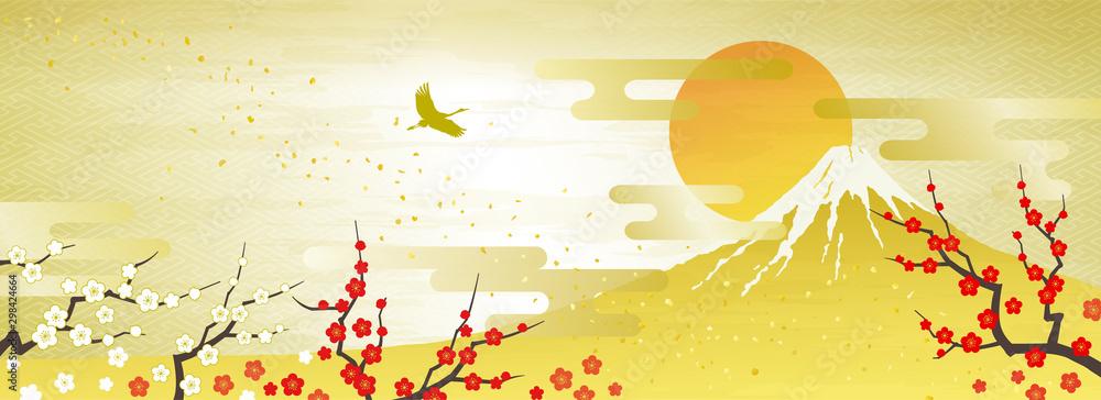 Fototapety, obrazy: 紅白の梅と富士山 初日の出