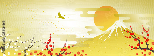 Valokuva 紅白の梅と富士山 初日の出