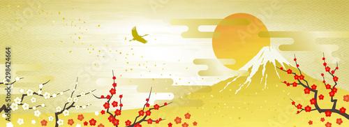 Leinwand Poster 紅白の梅と富士山 初日の出