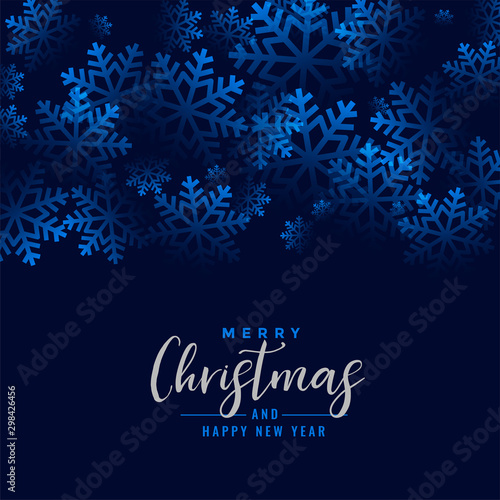 Fotografía merry christmas beautiful snowflakes blue background design