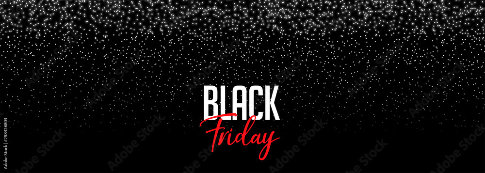 Fototapeta black friday banner with falling sparkles design