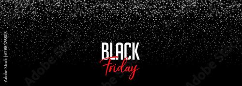 Fototapeta black friday banner with falling sparkles design obraz