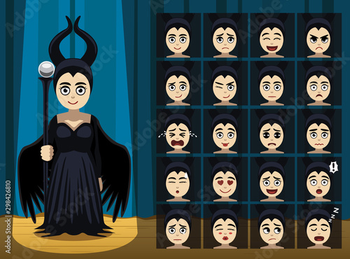 Black Angel Magician Girl Costume Cartoon Emotion faces-01 Tablou Canvas