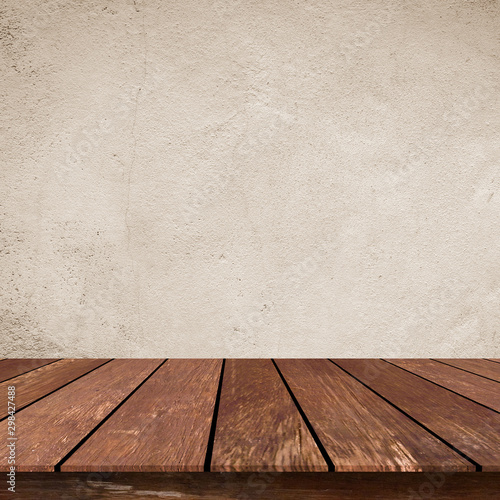 close up retro plain sepia tone color cement wall  background texture with old w Fototapet
