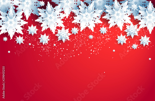 Fotobehang - Red winter holiday realistic snowflakes