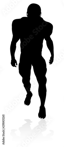 Detailed American Football player sports silhouette Wallpaper Mural
