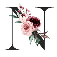 Alphabet, Letter N With Watercolor Flowers And Leaf. Floral Monogram Initials Perfectly For Wedding Invitations, Greeting Card, Logo, Poster And Other Design. Holiday Design Hand Painting.