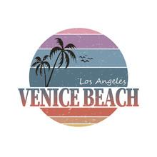 Venice Beach California Surf Typography, T-shirt Graphics, Vectors