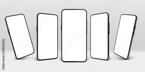Fototapeta Realistic smartphone mockup. Mobile phone display, device screen frame and black smartphones vector 3D template illustration set. Communication mean, modern gadget model presentation obraz