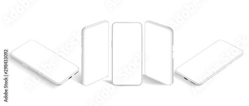 Isometric white smartphone mockup Fototapete