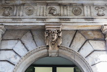 Head With Grimace As Architectural Feature At A Building