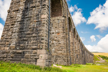 Famous Ribble Valley Viaduct Railway Crossing Showing Detail Of The Stonework Under-structure And Guttering. Sheep Often Graze Under Here