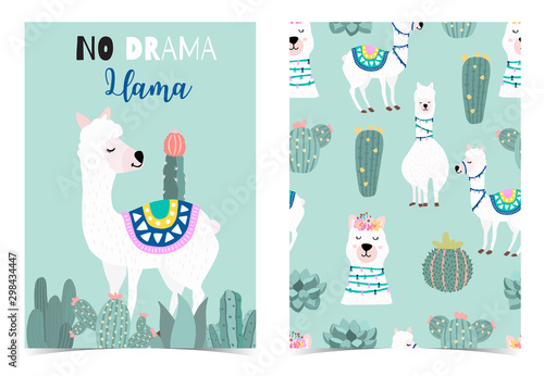 plakat Collection of animal background set with llama,cactus,green.Editable vector illustration for birthday invitation,postcard and sticker.Wording include llama not drama