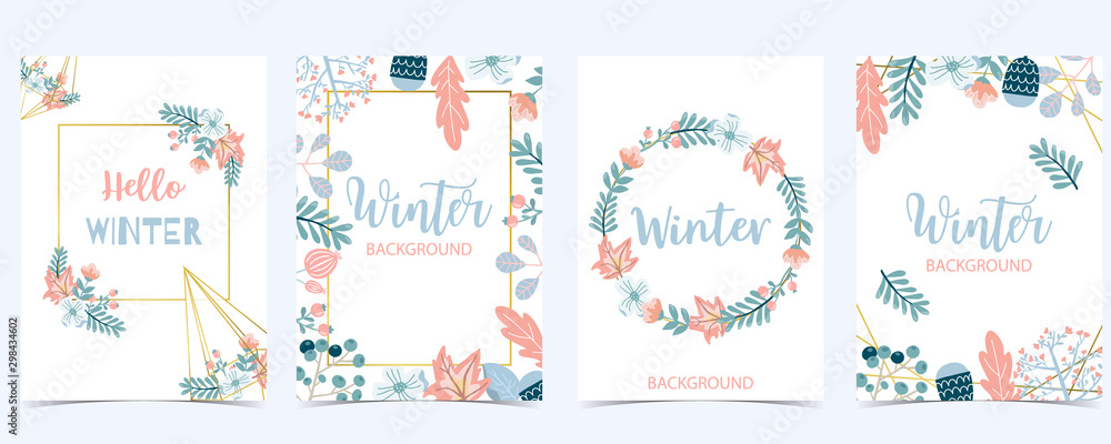Fototapety, obrazy: Collection of winter background set with wreath,flower,leaves.Editable vector illustration for birthday invitation,postcard and website banner