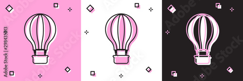 Fotografija  Set Hot air balloon icon isolated on pink and white, black background