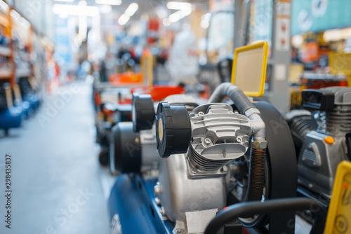 Fototapeta Hardware store assortment, air compressors