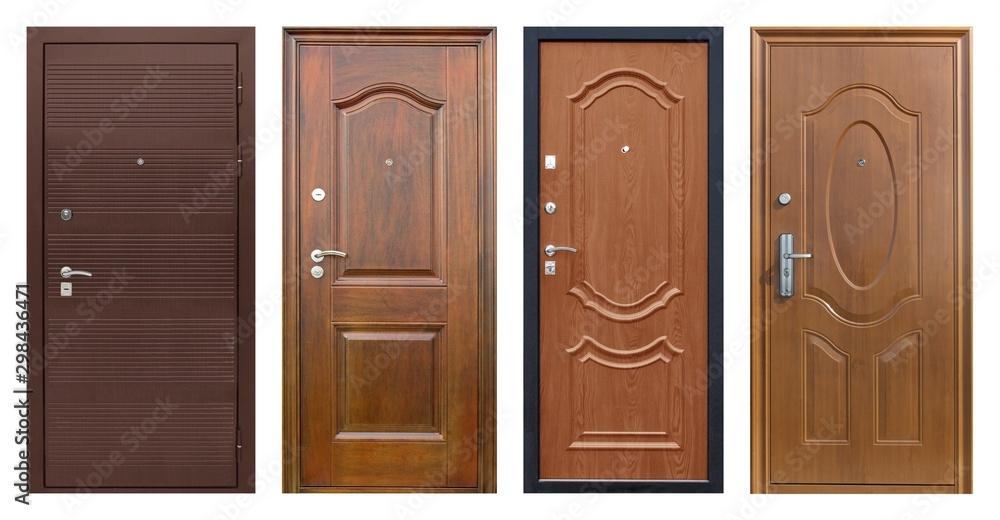 Obraz Set of models of entrance metal doors isolated on white background fototapeta, plakat