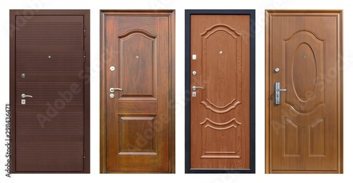 Set of models of entrance metal doors isolated on white background Canvas Print