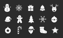 Set Of Christmas Icons On Black Background. Vector