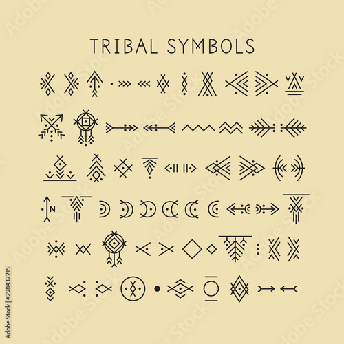 Canvas Print Vector set of line art symbols for logo design and lettering in tribal style