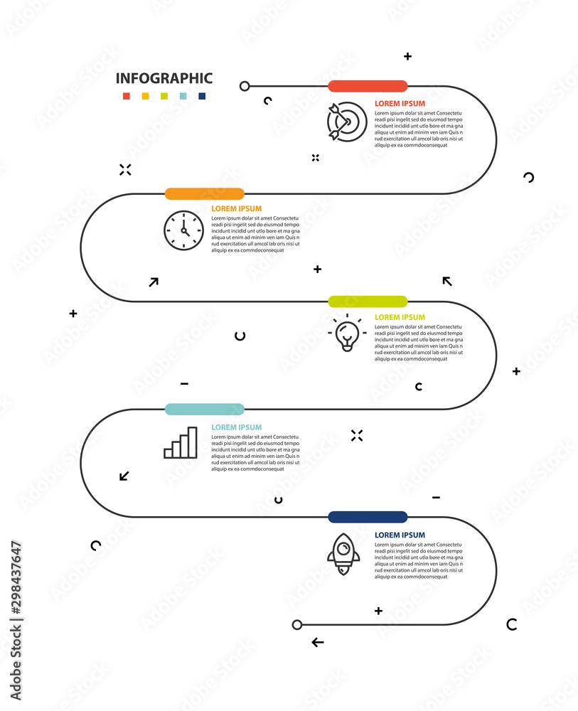 Fototapeta set of timeline infographic 5 step icons
