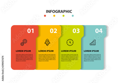 set of timeline infographic 5 step icons Canvas Print
